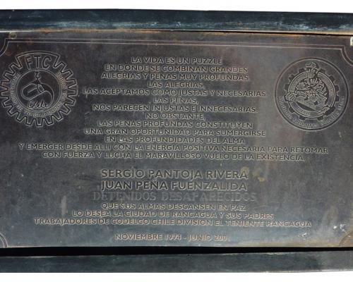 Imagen del monumento Sergio Pantoja-Juan Peña Fuenzalida Detenidos Desaparecidos