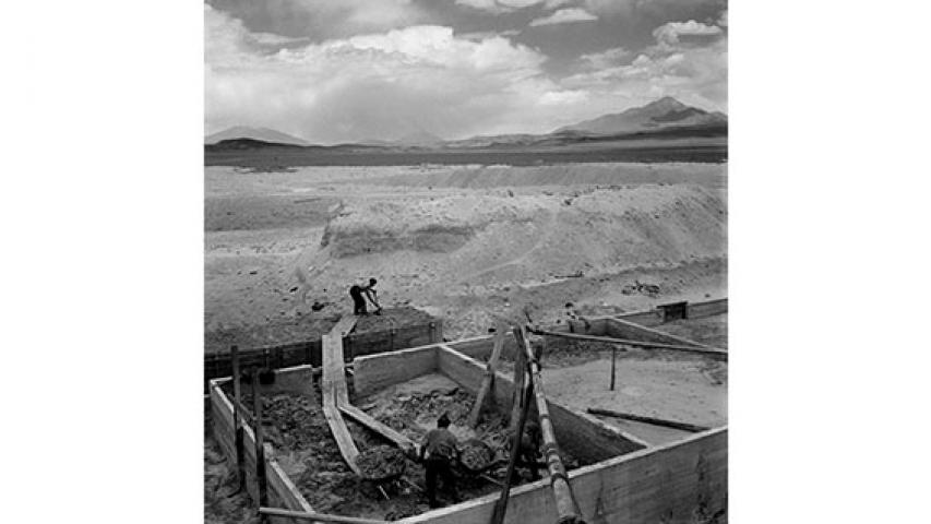 Construcción de estación de trenes, 1951