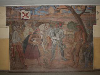 """Imagen del Monumento """"Fresia lanzando a su hijo a los pies de Caupolicán"""" de la ex Escuela Rebeca."""