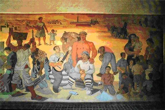 """Imagen del monumento """"Homenaje a Gabriela Mistral y los trabajadores del salitre"""" de la ex Escuela Rebeca."""