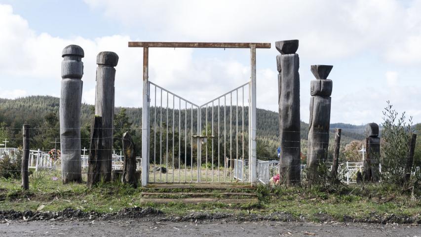 Imagen del monumento Eltun o cementerio mapuche ubicado en la localidad de Los Huape
